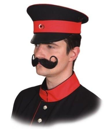 Hut: Uniformmütze, schwarz-rot - 1