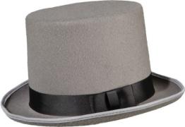 Hut: Zylinder, mit Ripsband als Hutband, grau, 15 cm Höhe, Kopfweite 57, 59, 61 - 1