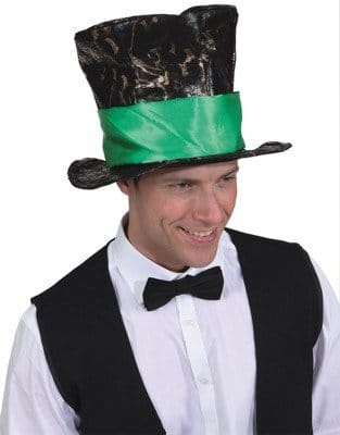 Hut: Zylinder, schwarz, breites grünes Hutband, Kopfweite 61 - 2