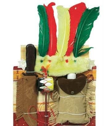 Indianer-Kostüm: Cheyenne-Set mit Messer, Kopfschmuck, Pfeife und Tasche - 1