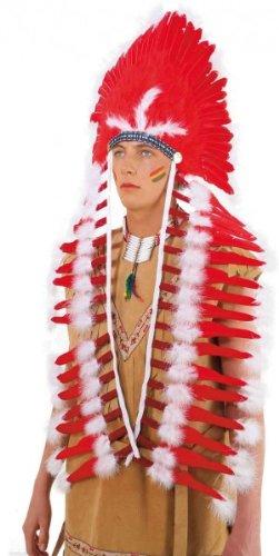 Indianer-Kostüm: großer Häuptlingsfederschmuck, rot - 1