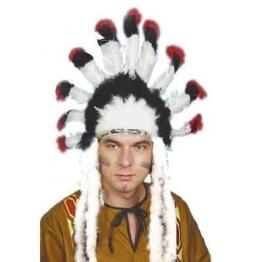 Indianer-Kostüm: Häuptlingsfederschmuck mit Maraboufedern - 1