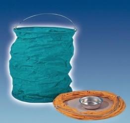 Indische Zuglaterne, blau, 18 cm Höhe, mit Kerzenhalter - 1