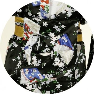 Japanerin-Kostüm: Kimono, Satin, schwarz, Einheitsgröße - 2