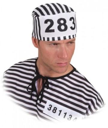 Kappe, Sträflingskappe, schwarz-weiß gestreift, mit Nummer - 1