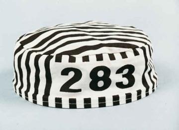 Kappe, Sträflingskappe, schwarz-weiß gestreift, mit Nummer - 2