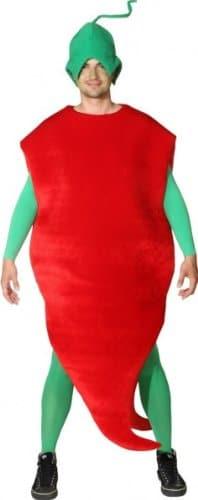 Karotten-Kostüm: Chili-Overall mit Kopfbedeckung, Einheitsgröße - 1