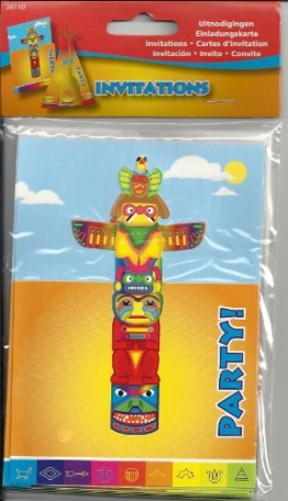 Karte: Einladungskarte, Indianer-Motiv, 8er-Pack - 1