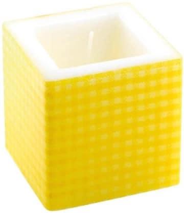 Kerze: Würfelkerze, gelbes Vichy-Muster, 8 x 8 x 8 cm - 1
