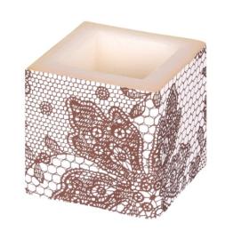 Kerze: Würfelkerze, Lace, braun, 8 x 8 x 8 cm - 1