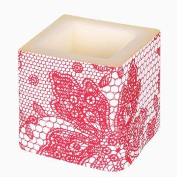 Kerze: Würfelkerze, Lace, creme, 8 x 8 x 8 cm - 3