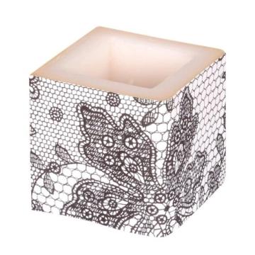 Kerze: Würfelkerze, Lace, creme, 8 x 8 x 8 cm - 4