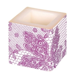 Kerze: Würfelkerze, Lace, lila, 8 x 8 x 8 cm - 1