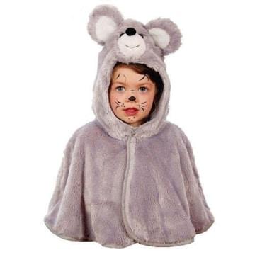 Kinderkostüm: Maus, Cape, Plüsch, grau, Größe 104 - 1