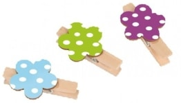 Klammer: Deko-Klammer Daisy mit bepunkteter Blume, 5 cm, 6er-Pack - 1