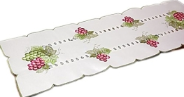 klassisch dekorative TISCHDECKE Tischläufer Deckchen sekt Weintrauben LILA grün gestickt Deko für Sommer und HERBST (Tischläufer 40x160 cm rechteckig) - 1