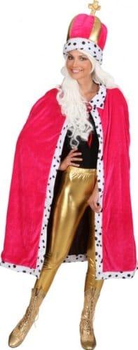 König-Kostüm: Mantel mit Mütze, pink, mit Fellabsatz, Einheitsgröße - 2