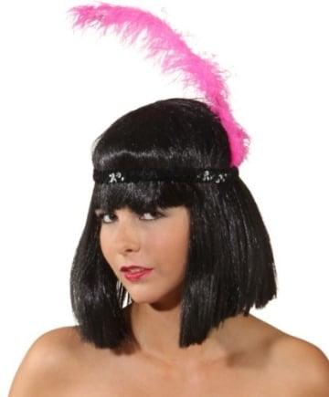 Kopfband: Charlstonband, schwarz, mit pinkfarbener Feder - 3