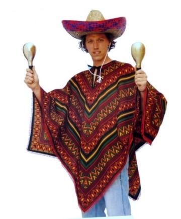 Kostüm: kurzer Mexikaner-Poncho mit Sombrero - 2