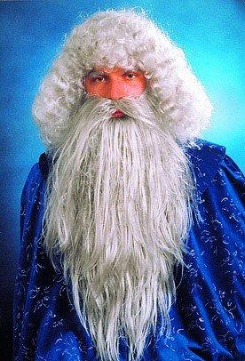 Kostüm-Set: Waldschrat, langer glatter Bart und Perücke, hellgrau - 1