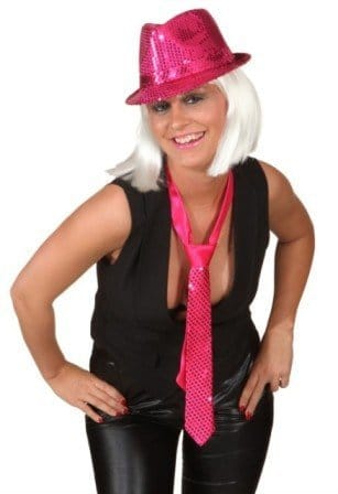 Krawatte: Schlips, pink, Pailletten - 1