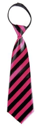 Krawatte: Schlips, pink-schwarz gestreift, gebunden, 30 cm - 1