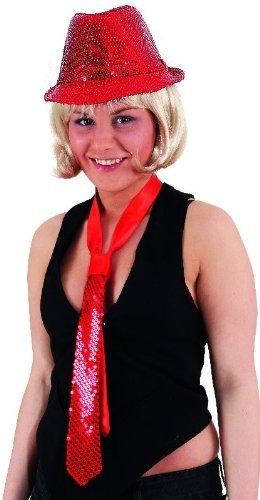 Krawatte: Schlips, rot, Pailletten - 1