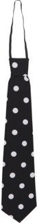 Krawatte: Schlips, schwarz, mit weißen Punkten, gebunden - 1