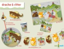 Kreativ-Party-Set: Party-Utensilien mit Drachen und Ritter aus Isis Wimmelwelt, 61 Teile - 1