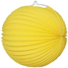 Lampion: 25 cm, gelb, mit Kerzenhalter - 1