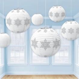 Lampion-Set: Lampions, Sternen-Motiv, weiß-silber, verschiedene Größen, 6 Stück - 1
