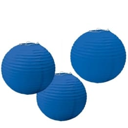 Laterne: Papierlaterne, rund, blau, 24 cm, 3er-Pack - 1