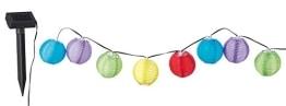 LED-Lichterkette: Party-Laterne, solarbetrieben, 10 Lampions, 4,5 m, wetterfest - 1
