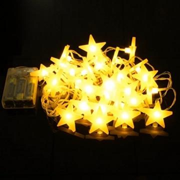 Led Lichterkette Sterne 30er Set batterienbetrieben für Weihnachten Deko und Hochzeit warm weiß 3