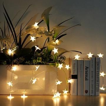 Led Lichterkette Sterne 30er Set batterienbetrieben für Weihnachten Deko und Hochzeit warm weiß 6