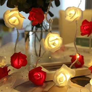 Lichterkette aus Rosen Blumen, Valentinstag, Hochzeitsdeko oder Jahrestag 2