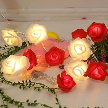 Lichterkette aus Rosen Blumen, Valentinstag, Hochzeitsdeko oder Jahrestag 3