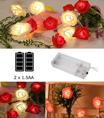 Lichterkette aus Rosen Blumen, Valentinstag, Hochzeitsdeko oder Jahrestag 4