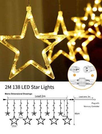 Lichterkette Weihnachten Sterne, Weihnachtsbeleuchtung Sternenvorhang 2