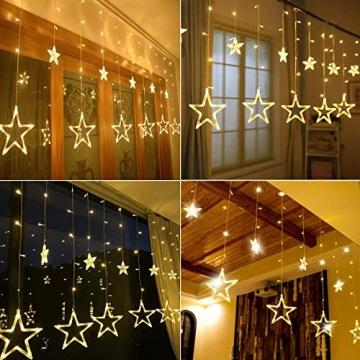 Lichterkette Weihnachten Sterne, Weihnachtsbeleuchtung Sternenvorhang 3