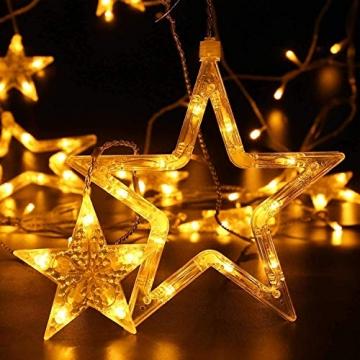 Lichterkette Weihnachten Sterne, Weihnachtsbeleuchtung Sternenvorhang 5