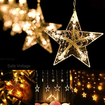 Lichterkette Weihnachten Sterne, Weihnachtsbeleuchtung Sternenvorhang 6