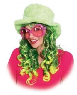 Locken-Perücke mit Neon-Farben für einen leuchtenden Auftritt - 1