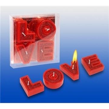 LOVE-Buchstaben-Kerzen, romantische Deko-Idee - 1