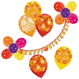 "Luftballon-Deko-Set: Ballons und Buchstabenkette ""Happy Birthday"" - 1"