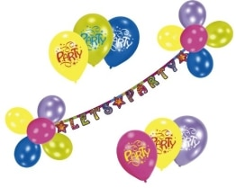 "Luftballon-Deko-Set: Ballons und Buchstabenkette ""Let's Party"" - 1"