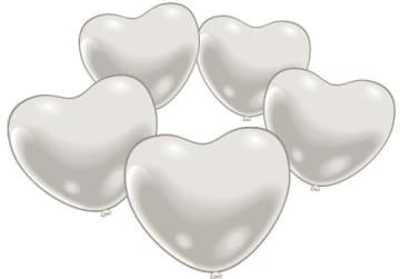 Luftballon: Herzballons, weiß, klein, 10 Stück - 1