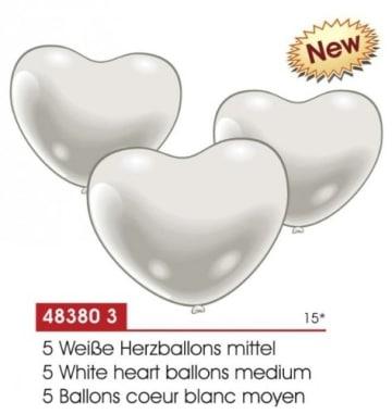 Luftballon: Herzballons, weiß, mittlere Größe, 5 Stück - 2