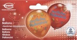 """Luftballons: bedruckt mit """"Herzlichen Glückwunsch"""", 8 Stück - 1"""