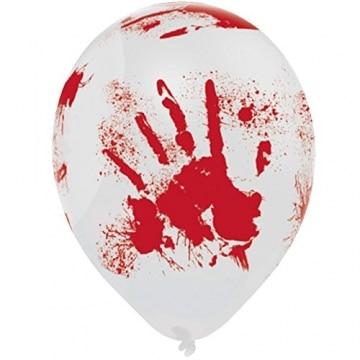 Luftballons blutige Hände für Halloween Rot Weiß 2